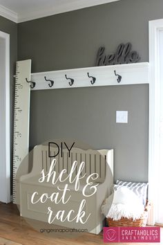 DIY Shelf & Coat Rack | Great way to organize coats for the winter.