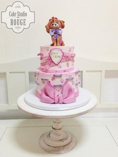 Sky - paw patrol cake by Paw Patrol Sky Cake, Girls Paw Patrol Cake, Torta Paw Patrol, Paw Patrol Party, Cake Disney, Paw Patrol Birthday Theme, Birthday Cake Girls, 3rd Birthday, Minnie Mouse Cake