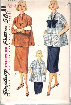 Vintage 1953 Simplicity 4444 Maternity Two Piece Suit Dress Sewing Pattern Size…