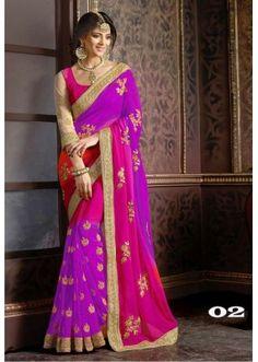 Party Wear Purple Georgette Saree  - 1086-02