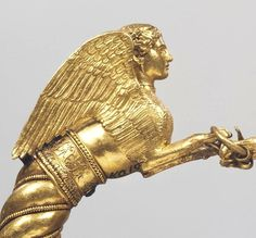 GRECO-SCYTHIAN GOLD SPHINX BRACELET, 400-350 BC  With sphinx protomes, stamped, filigreed and granulated. Found during excavations in 1830 in the Kul Oba Barrow located near Kerch,Crimea