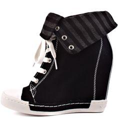 I adore the hidden wedge tennis shoe look!