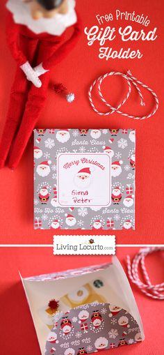 Free Printable Santa Paper Gift Card Holder for DIY #Christmas Gifts by Amy at LivingLocurto.com.
