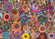 "Meus bordados -- WOW!!!!!!!!!!! like Pamela Nelson's assemblage ""rondells"" of Tx cities! /// make pillow w turquoise in it for couch..."