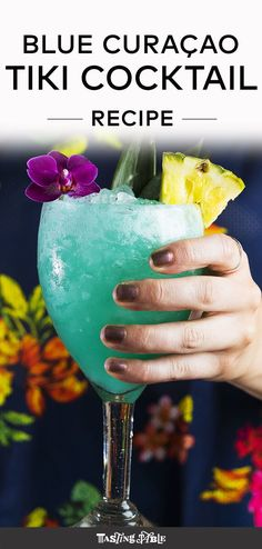 Looking for something tropical to serve this summer? Whip up this Blue Curaçao Tiki Cocktail for your Fourth of July party.