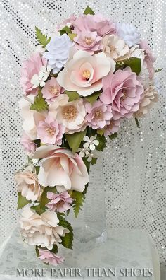 Cascading Paper Bouquet - Paper Flower Bouquet - Wedding Bouquet - Country White and Petal Pink - Custom Made - Any Color by morepaperthanshoes on Etsy https://www.etsy.com/listing/225544893/cascading-paper-bouquet-paper-flower