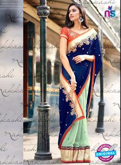 Nakkashi 4054 Blue And Orange Georgette Party Wear Saree