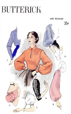 set of sleeves in 6 styles vintage sewing pattern reproduction bishop sleeve off shoulder puff sleeve ruching detail Butterick 5302 Fashion Sewing, Retro Fashion, Vintage Fashion, Retro Mode, Mode Vintage, Fashion Design Drawings, Fashion Sketches, Vintage Patterns, Fashion Terms