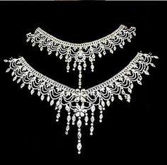 Wedding Bridal Crystal Rhinestone Shoulder Body Chain Collar Necklace Jewelry  A