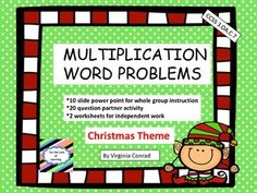 Ready to introduce or review multiplication word problems using the basic multiplication facts?  These learning activities can help you!  Start off with a 10 page slide show to get students solving multiplication problems using the strategies you have taught in previous lessons.