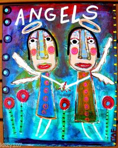 """""""ANGELS"""" this is an acrylic/mixed media painting incorporating vintage dictionary pages into the background. Hope you enjoy my folksy angels!"""
