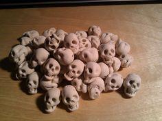 Polymer clay skulls