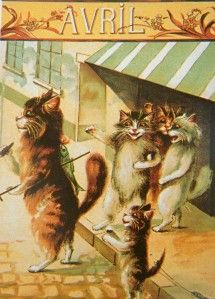 Maurice Boulanger. April. Vintage French postcard.
