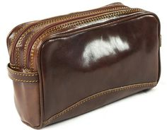 Genuine Italian Leather Luxury Wash Bag Travel Toiletry Twin Compartment  Brown  Amazon.co.uk  Luggage 5fe0cb54bef50