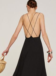 Pick you up at 8. This is a full length wrap dress with a deep v neckline, an open back, and back strap detail.