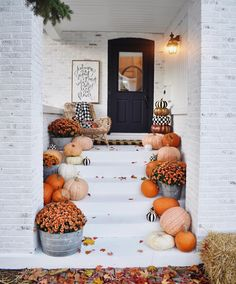 There's something so sweet about this monotone-meets-cheerful-pumpkin display! The perfect welcome during autumn. front porch | harvest decor | pumpkins | mums | orange | black and white | silver