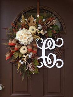 NEW Fall Front Door Wreath  Hydrangea Wreath with Initial