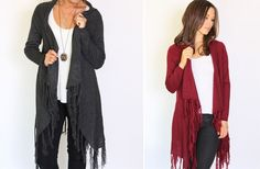 GroopDealz | Solid Fringed Cardigan - 4 Colors!