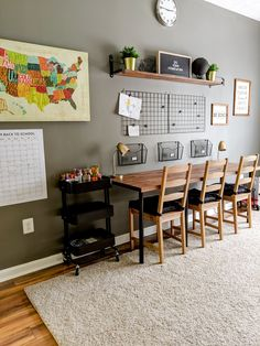 See how we created a homework station in our playroom for our three children. Homework Station Diy, Kids Homework Station, Homework Desk, Kids Homework Room, Kids Office, Small Office, Office Ideas, Office Decor, Kids Desk Space