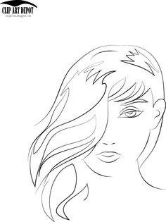Clip Art Depot: Beauty face girl sketch portrait illustration vect...