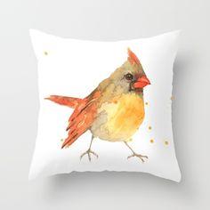 cardinal bird, lady cardinal, female cardinal, bird art, watercolor birds, bird paintings Throw Pillow