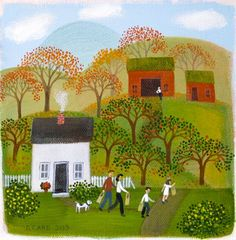 Apple Pickers  6 x 6  acrylic on canvas