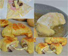 Cornetti di patate con funghi prosciutto e formaggio