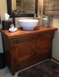 . Vessel Sink Bathroom, Refinished Furniture, Bathrooms, Rustic, Country, Projects, House, Country Primitive, Log Projects