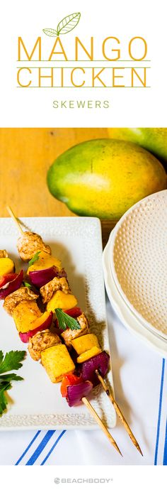 Make the most of what's left of summer (or pretend it's still here) with these citrus-marinated Mango Chicken Skewers. Because, who doesn't love food on a stick? Get the recipe here! // healthy recipes // lunches // dinners // healthy chicken recipes // h Clean Eating, Healthy Eating, Healthy Cooking, Mango Chicken, Brunch, Skewer Recipes, Chicken Skewers, Sweet And Spicy, Healthy Recipes