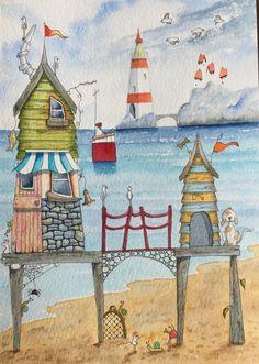 Strand Hütten Hund Seespinnen Leuchtturm Aquarell & Pen