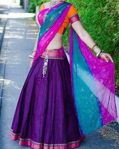 Mangalagiri cotton puhrple half saree with orange blouse and colour full chiffon…