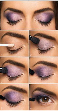 Lovely Purple Eyeshadow Tutorial For Beginners   12 Colorful Eyeshadow Tutorials For Beginners Like You! by Makeup Tutorials at http://makeuptutorials.com/colorful-eyeshadow-tutorials-for-beginners/