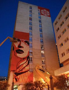 14 story mural in paris by shepard fairey.