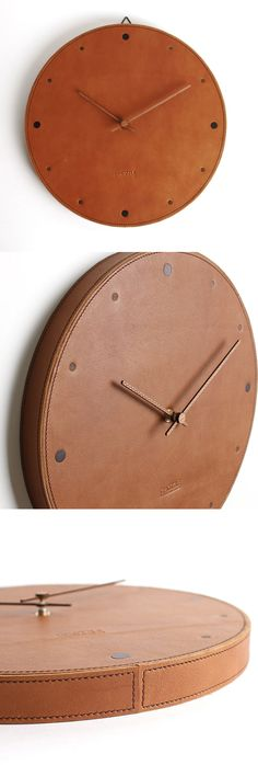 "We are Handians. Korea Handmade people.  - Silent Wall Clock - Circle  This is handmade!!   - Wood : Red Fine (back)  - Finished : Hefele AURO2in1 Oil-Wax(wood)   - Leather : leather (Italy)  - Color :Brown  - Hands of a clock : Walnut  - Size : W 30cm * H 30cm  ( W 11.8"" x H 11.8"" )    https://www.etsy.com/shop/handians"