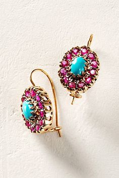 Turquoise and Ruby Nouveau Oval Drops in 14k Rose Gold
