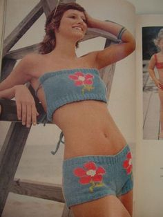 Knitted bathing suit - 1973.  Wonderful, until it gets wet.