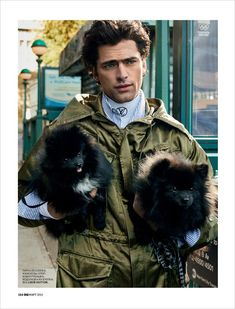 Supermodel Sean O'Pry stars in Top Dog story captured for GQ Russia's March 2018 edition by fashion photographer Michael Schwartz at Atelier Management. In charge of styling was Mark Holmes, with grooming from Scott McMahan at Kate Ryan. Sean O'pry, Male Fashion Trends, Mens Fashion, Gq, Winter Hats, Winter Jackets, The Fashionisto, Up Dog, Dog Stories