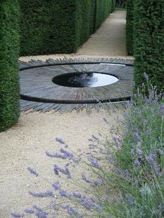circular water feature in a garden axis point. Pinned to Garden Design - Water Features by Darin Bradbury.Beautiful circular water feature in a garden axis point. Pinned to Garden Design - Water Features by Darin Bradbury. Water Features In The Garden, Garden Features, Landscape Architecture, Landscape Design, Jardin Decor, Simple Pool, Design Jardin, Modern Garden Design, Circular Garden Design