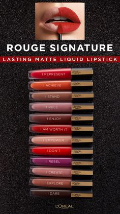 Rouge Signature delivers a satin feel with the color impact of a liquid lipstick. Imparts lips with a high pigment, matte finish, and lasting wear. Colourpop Lipstick, Lipstick Swatches, Lipstick Shades, Lipstick Colors, Liquid Lipstick, Lip Colors, Lipsticks, Makeup Dupes, Skin Makeup