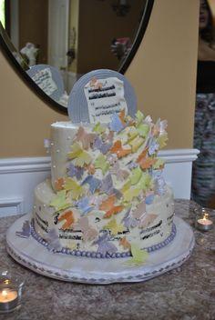 Mariah Carey bridal shower cake created by @krez10 #butterflies #rainbow #music #vinyls