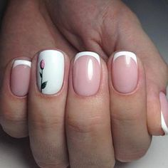 ▷ 1001 + ideas sobre uñas francesas decoradas 2018 elegant french manicure design nude color background, thin white line, blank ring finger with rose drawing French Nails, French Manicure Gel, Nail Manicure, French Manicures, Spring Nail Art, Spring Nails, Pretty Nails, Fun Nails, Nagel Hacks