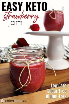 Low Carb Recipes Easy Keto Strawberry Jam is sugar-free and bursting with flavor! Spread on a low carb bread or use in your favorite gluten-free recipe! Keto Diet List, Starting Keto Diet, Low Carb Desserts, Low Carb Recipes, Keto Diet Drinks, Diet Foods, Diet Meals, Sugar Free Jam, Keto Diet Breakfast