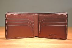Classic look leather bifold card wallet with the capacity to keep 6 credit cards with another 2 extra slots behind for your bus, train ticket etc. Leather Wallet Pattern, Handmade Leather Wallet, Leather Gifts, Stitching Leather, Leather Wallets For Men, Sheep Leather, Leather Art, Tan Leather, Credit Card Wallet