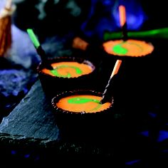 [ chocolate cauldrons w/ orange yogurt ]