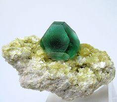 Deep green isolated fluorite crystal showing cubic {100} and octahedral {111} faces, complete and undamaged, set upon a micaceous matrix. Overall size: 50 mm x 27 mm. Crystal size: 19 mm wide. Weight: 30 g. From Erongo Mountain, Erongo Region, Namibia.