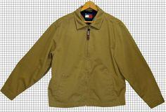 Tommy Hilfiger Jacket Coat Khaki Tan Zip Up Cotton Patch Flag Logo Sz: S #TommyHilfiger #BasicJacket