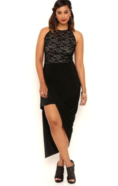 Deb Shops Plus Size Asymmetrical High Low Prom Dress with Tie Lace Neckline $29.75