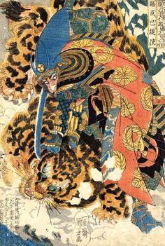 Oki no Jiro Hiroari killing a monstrous tengu - Utagawa Kuniyoshi - WikiArt.org