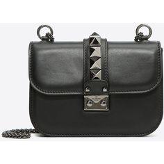 Valentino Garavani Noir Small Chain Cross Body Bag (12.295 DKK) via Polyvore featuring bags, handbags, shoulder bags, black, valentino crossbody, crossbody purse, chain strap purse, cross body and chain strap crossbody purse