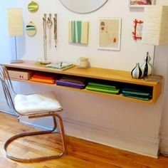 How to Make a Minimalist Desk. I'm not a fan of screwing it into the wall though...
